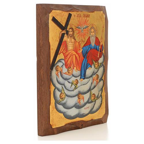 Icona Grecia dipinta SS. Trinità su nuvola 2