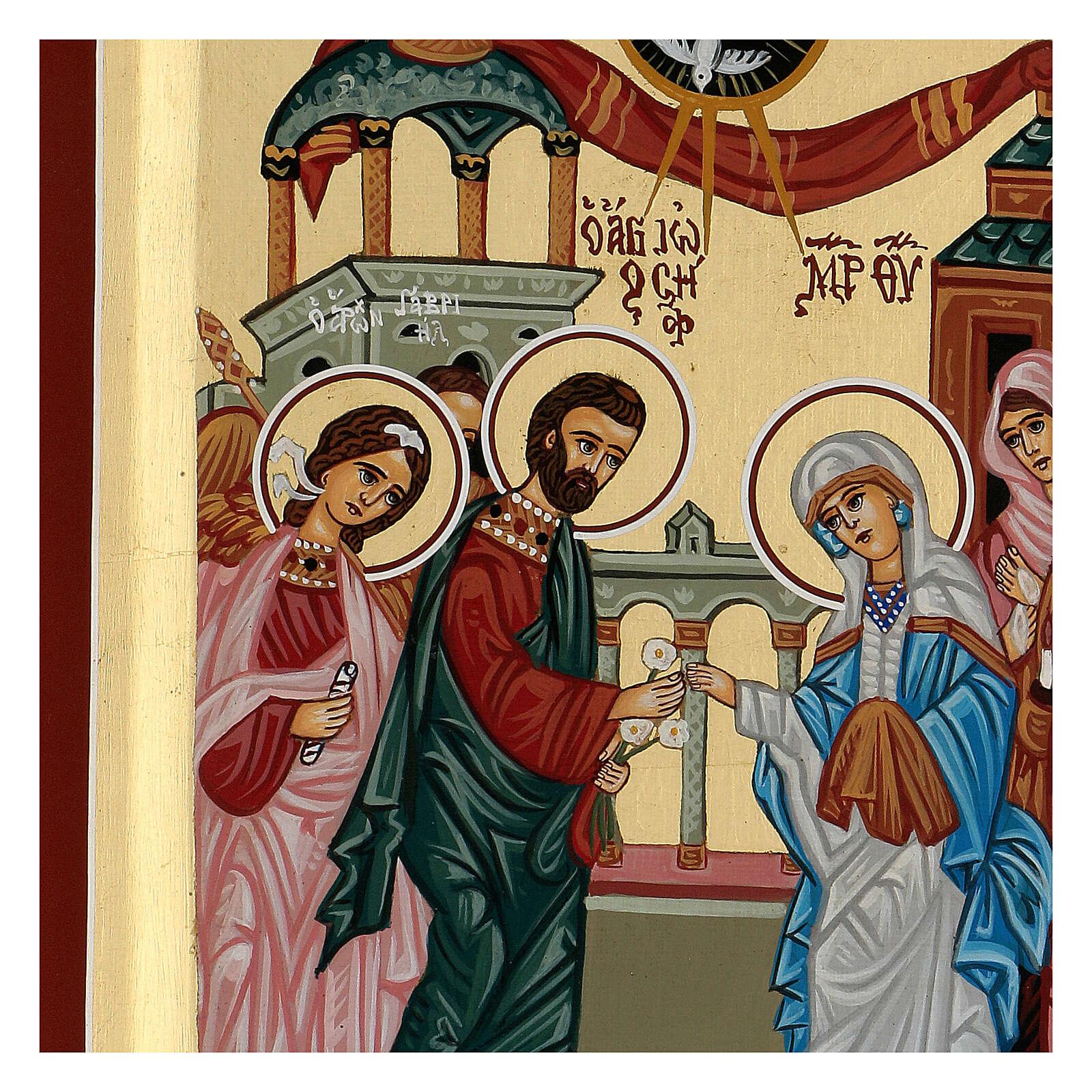 Icona Grecia dipinta matrimonio Giuseppe e Maria 31x23 cm 4
