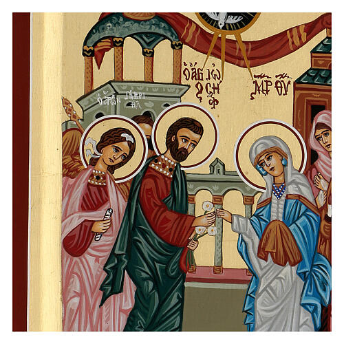 Icona Grecia dipinta matrimonio Giuseppe e Maria 31x23 cm 2
