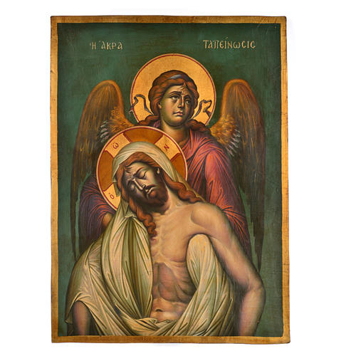 Greek icon, painted with Deposition scene 67x48cm 1