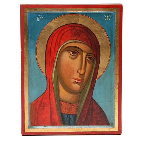 Icône peinte image Sainte Vierge 31x24 cm 1