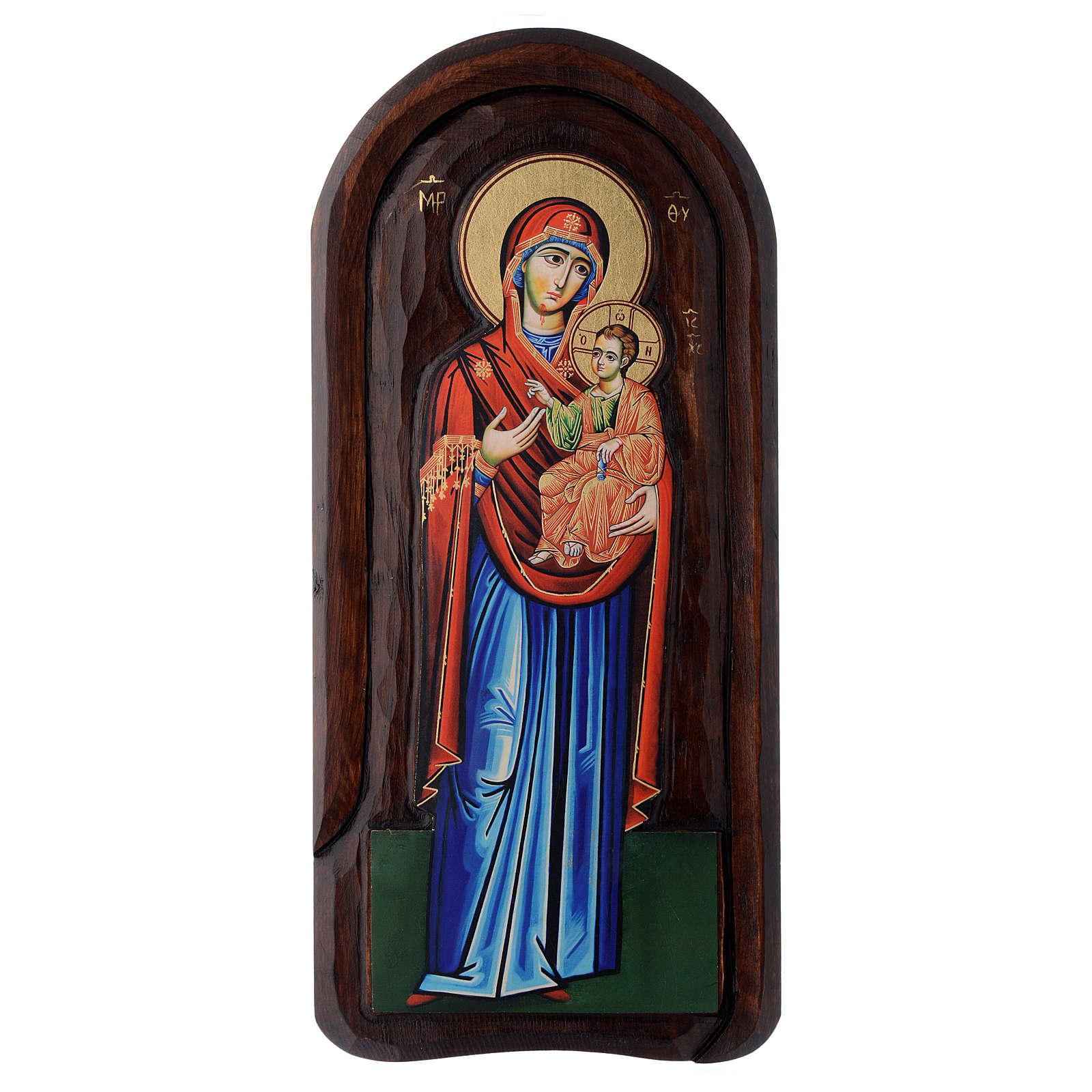 Icona a bassorilievo con Madonna Odigitria con Bambino 45x20 cm 4