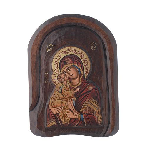 Icona a bassorilievo serigrafata con Vergine Vladimir 25x15 cm 1