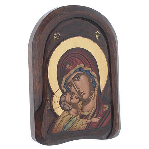 Icona bassorilievo primo piano della Vergine Vladimir 25x15 cm 2