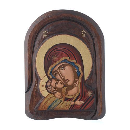 Ícone baixo-relevo primeiro plano Mãe de Deus de Vladimir 25x15 cm 1