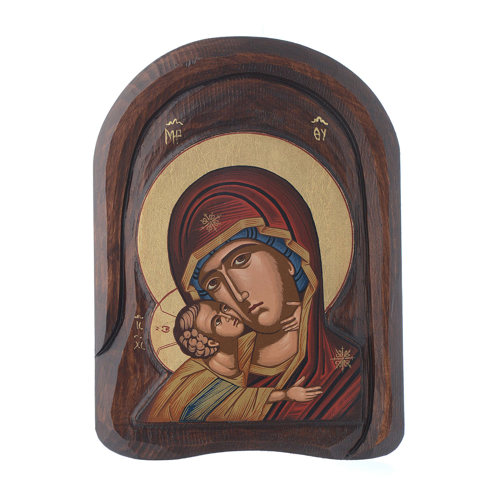 Greek carved icon Virgin of Vladimir, detail 20x15 cm 4