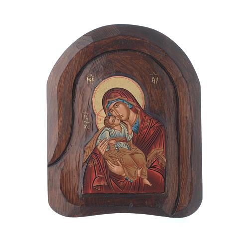 Icona a bassorilievo con Vergine Vladimir 20x15 cm 1