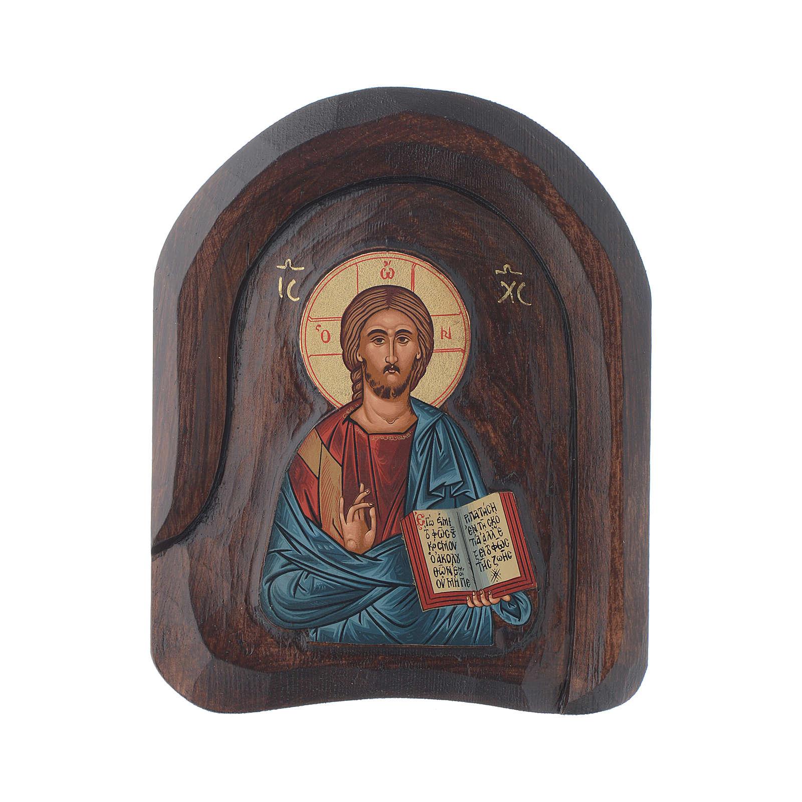 Icona a bassorilievo con Cristo Pantocratore con libro aperto 20x15 cm 4