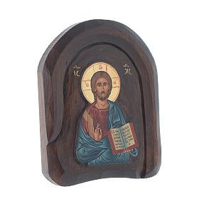 Icona a bassorilievo con Cristo Pantocratore con libro aperto 20x15 cm s2
