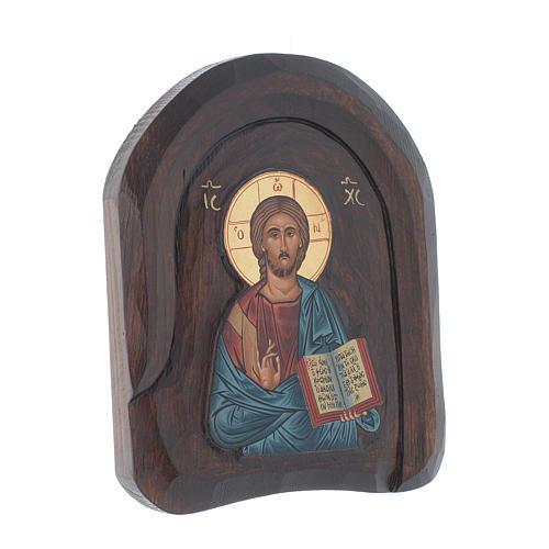 Icona a bassorilievo con Cristo Pantocratore con libro aperto 20x15 cm 2