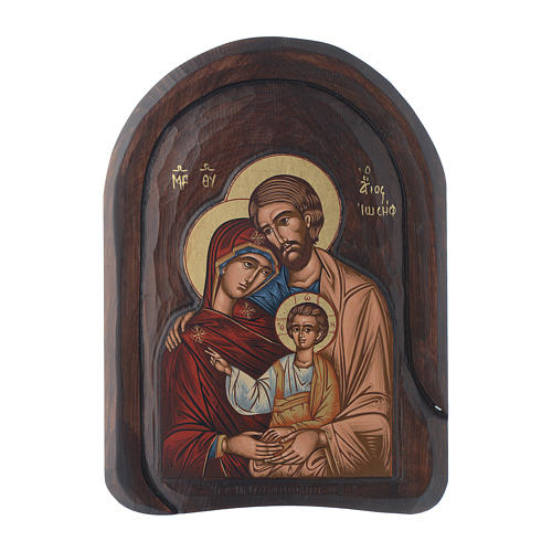 Holy Family icon in wood, low relief 30x20 cm 1