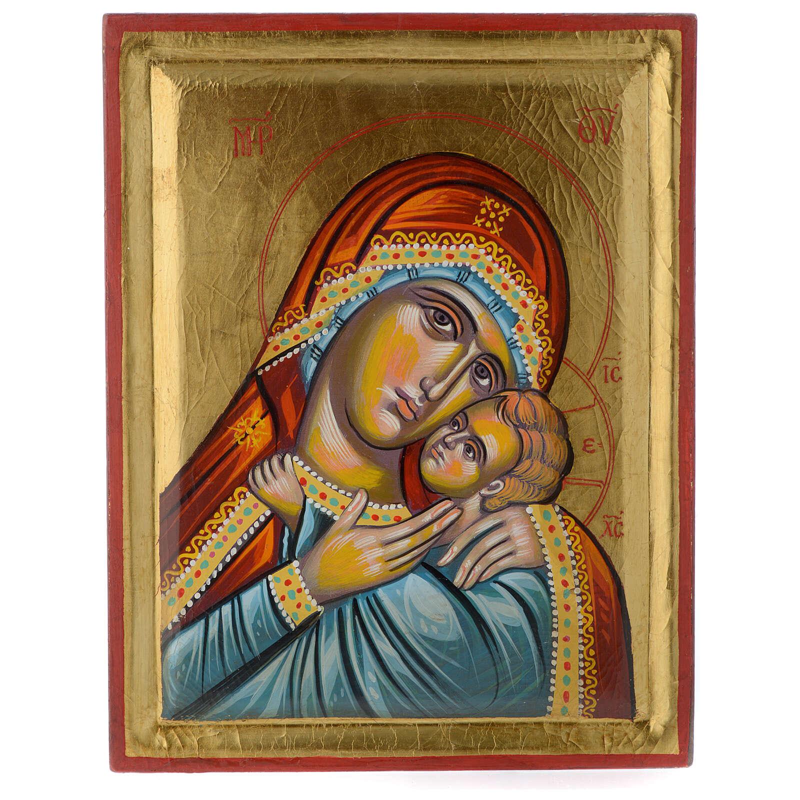 Icona greca dipinta Vergine Glikofilussa 30x20 cm 4