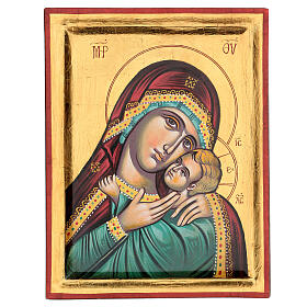 Icona greca dipinta Vergine Glikofilussa 30x20 cm s1