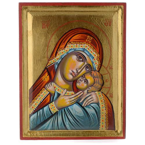 Icona greca dipinta Vergine Glikofilussa 30x20 cm 1