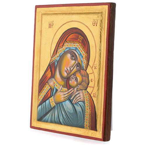 Icona greca dipinta Vergine Glikofilussa 30x20 cm 3