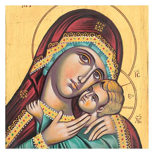 Icona greca dipinta Vergine Glikofilussa 30x20 cm 2