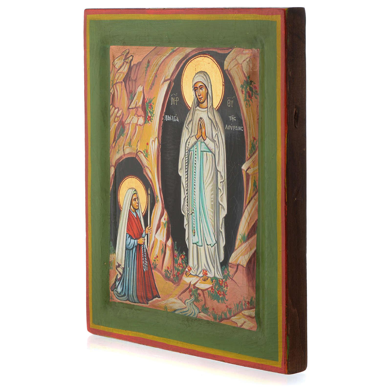 Icona greca dipinta Lourdes 25x20 cm 4