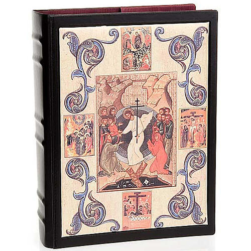 Lectionary cover in leather with Resurrection decoration 1