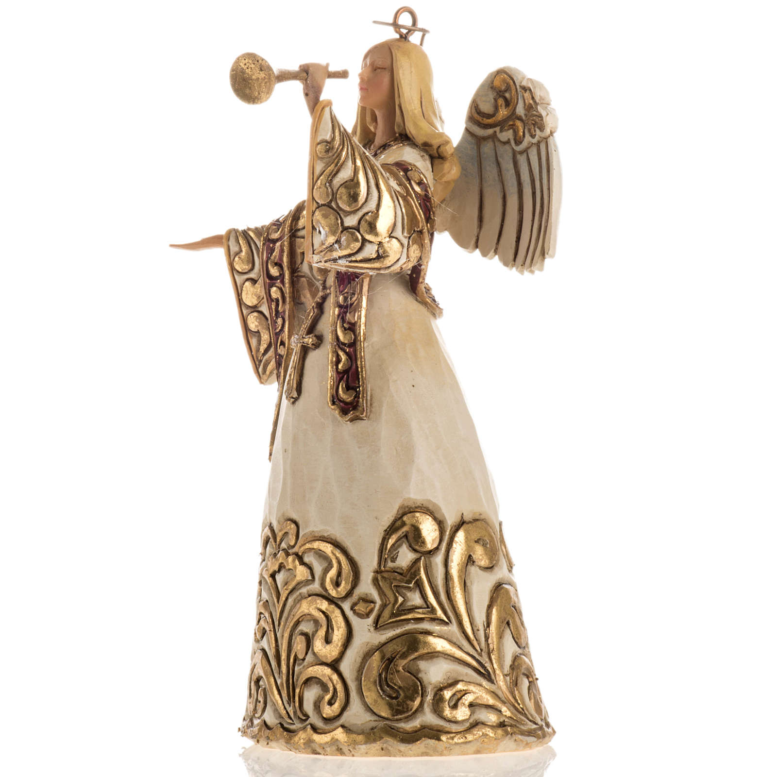 Ángel con la trompeta de Jim Shore (Ivory and Gold Angel) 4