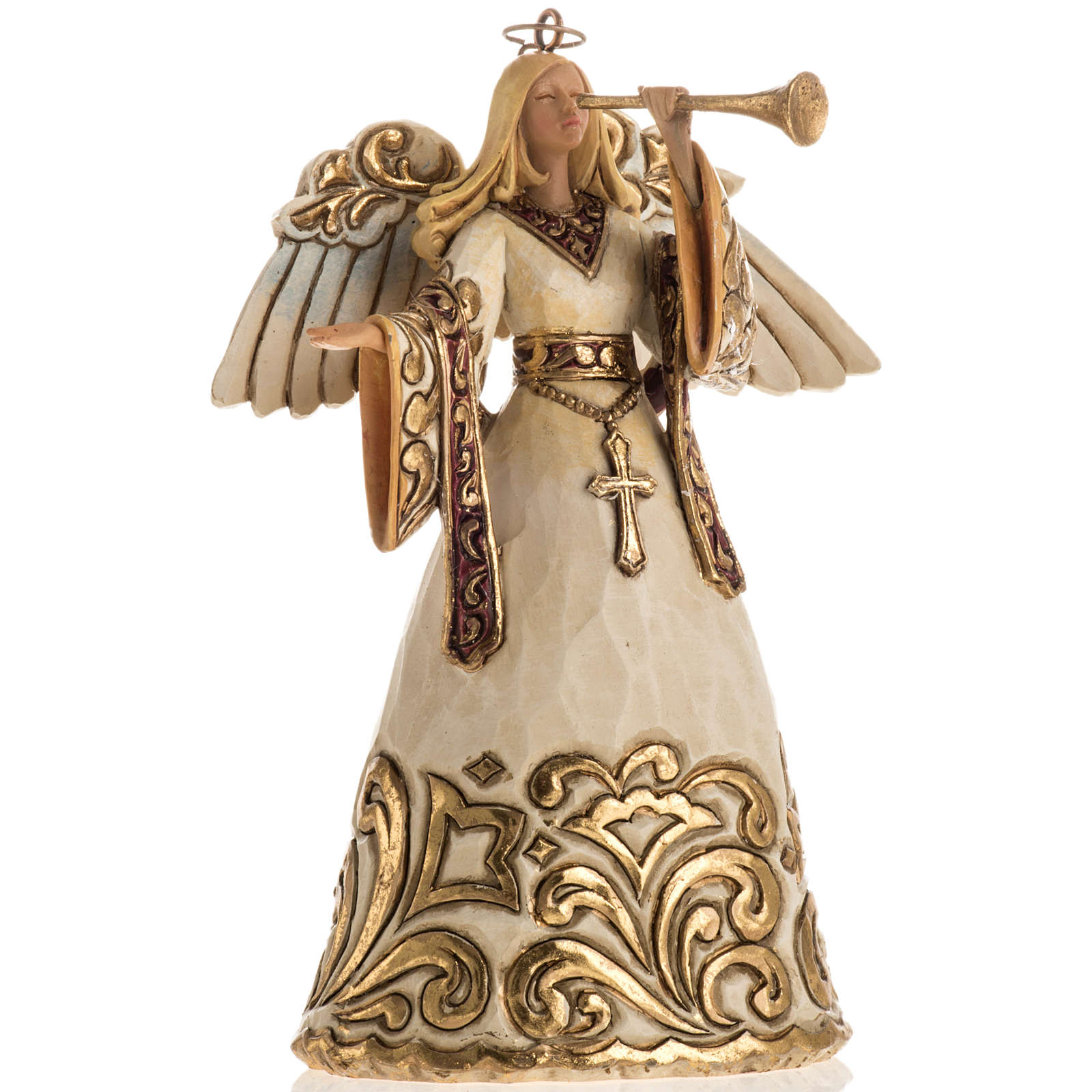 Ivory and Gold colour Angel Hanging Ornament by Jim Shore 4