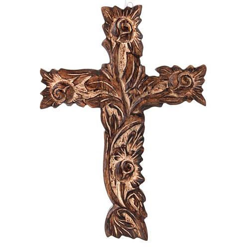 Crucifix in sculpted wood 1