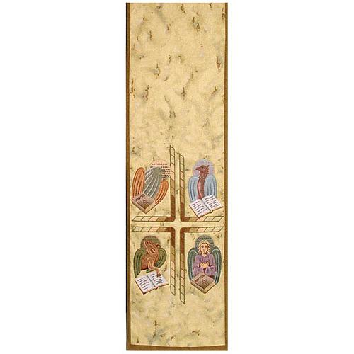 Pano ambão 4 evangelistas fundo ouro marmorato 1