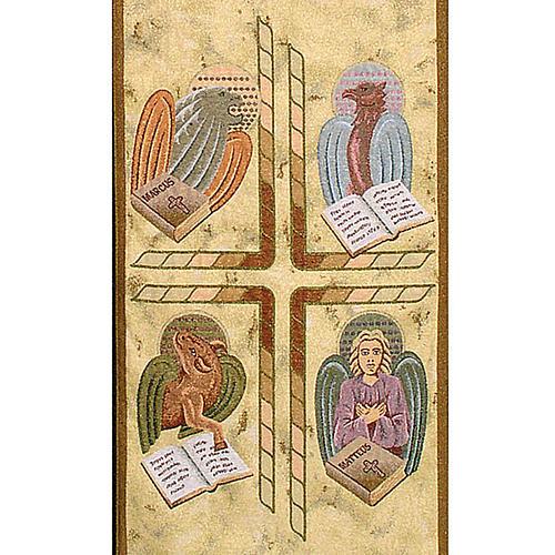 Pano ambão 4 evangelistas fundo ouro marmorato 2