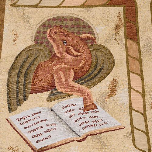 Pano ambão 4 evangelistas fundo ouro marmorato 5