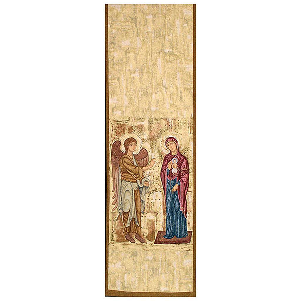 Pano ambão Anunciação fundo ouro marmorato 4
