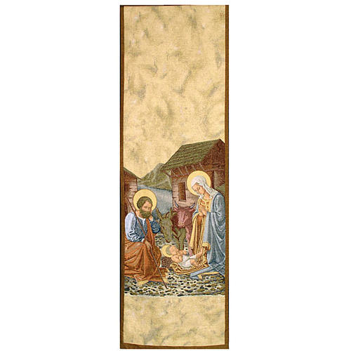 Lectern cover, Nativity and stable gold background 1