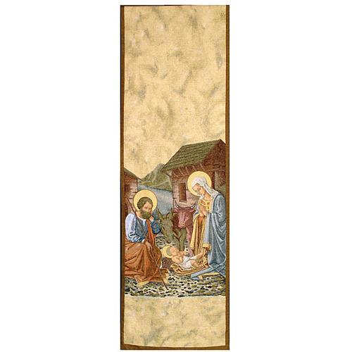 Coprileggio Natività con capanna sfondo oro maculato 1