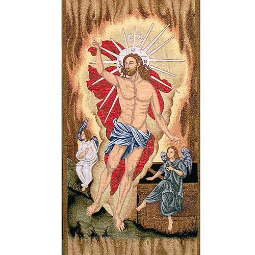 Paño de atril con Cristo resuscitado con angeles 2