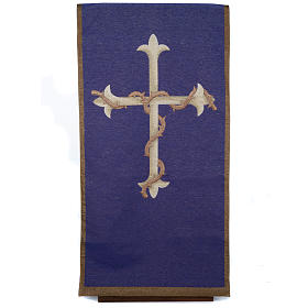 Pulpit cover, golden cross on purple background s1