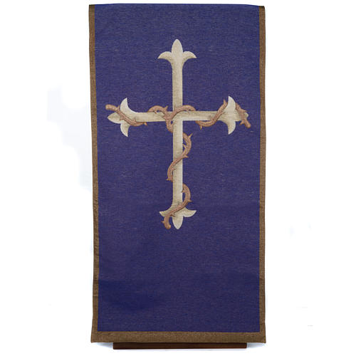 Pulpit cover, golden cross on purple background 1