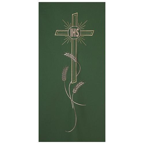 Cubre atril bordado IHS cruz y espigas 2