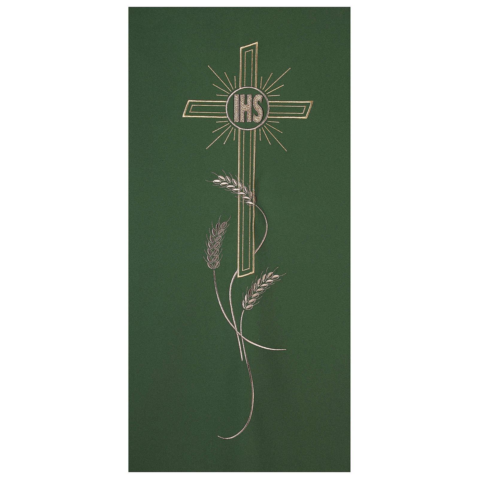 Véu ambão bordado IHS cruz e trigo 4
