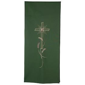 Panos de Ambão: Véu ambão bordado IHS cruz e trigo