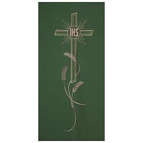 Véu ambão bordado IHS cruz e trigo s2