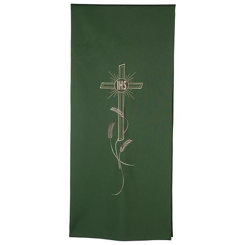 Véu ambão bordado IHS cruz e trigo 1
