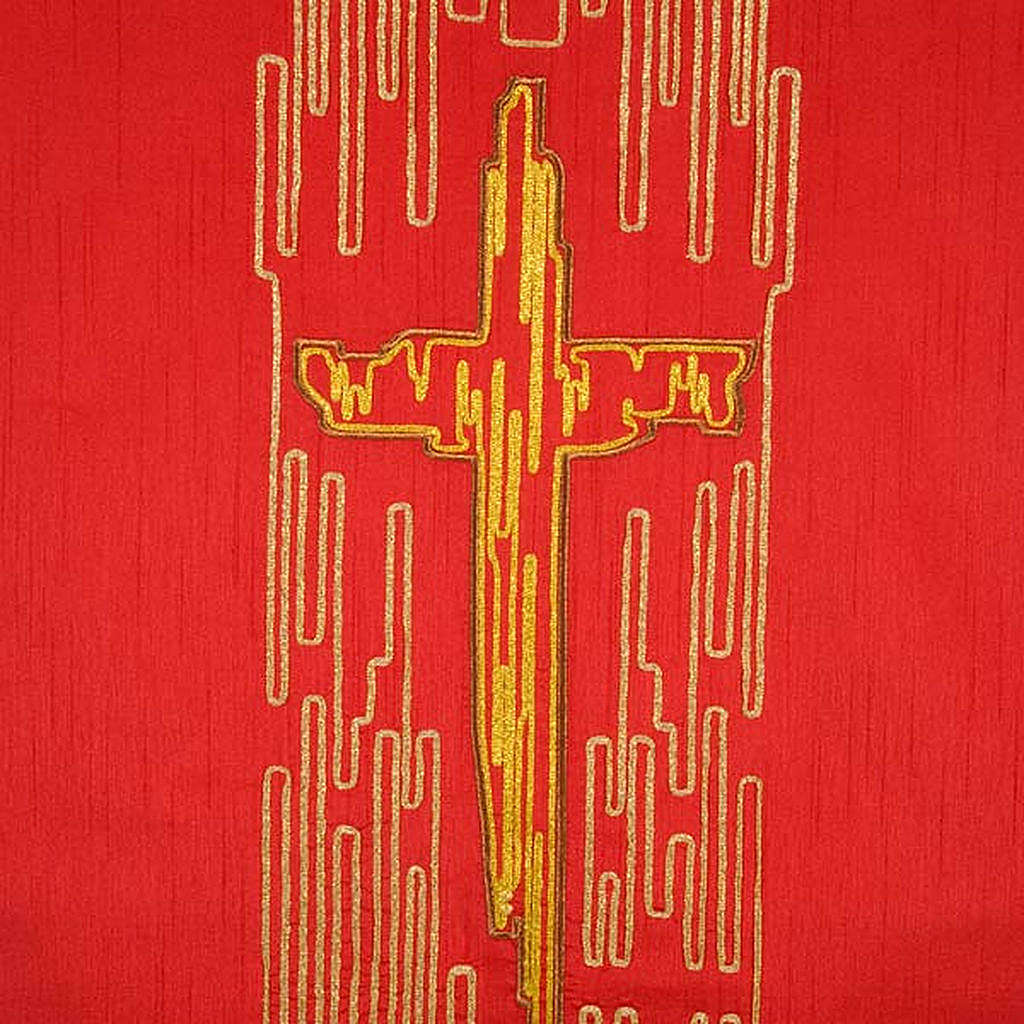 Cubre atril shantung cruz estilizada dorada 4