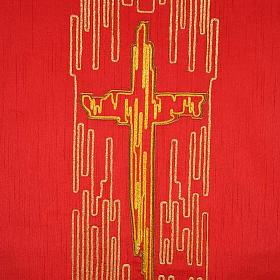 Cubre atril shantung cruz estilizada dorada s2