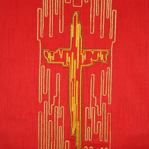 Cubre atril shantung cruz estilizada dorada 2