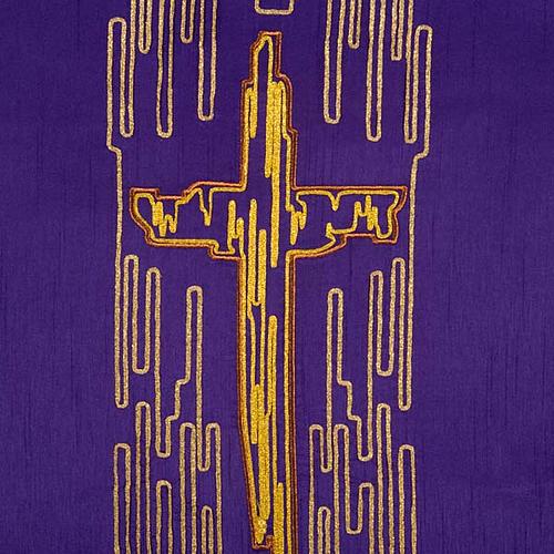 Cubre atril shantung cruz estilizada dorada 5