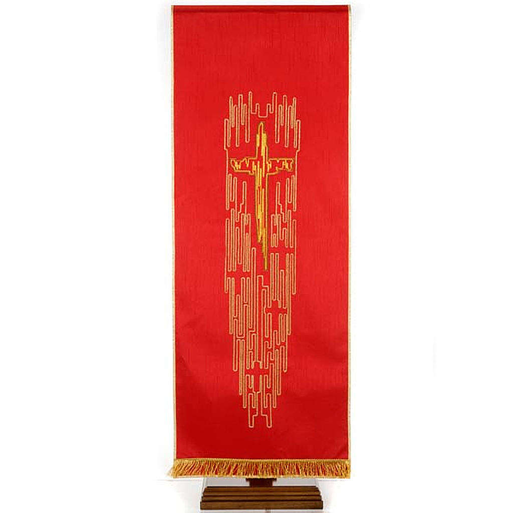 Lectern cover shantung stylised golden cross 4