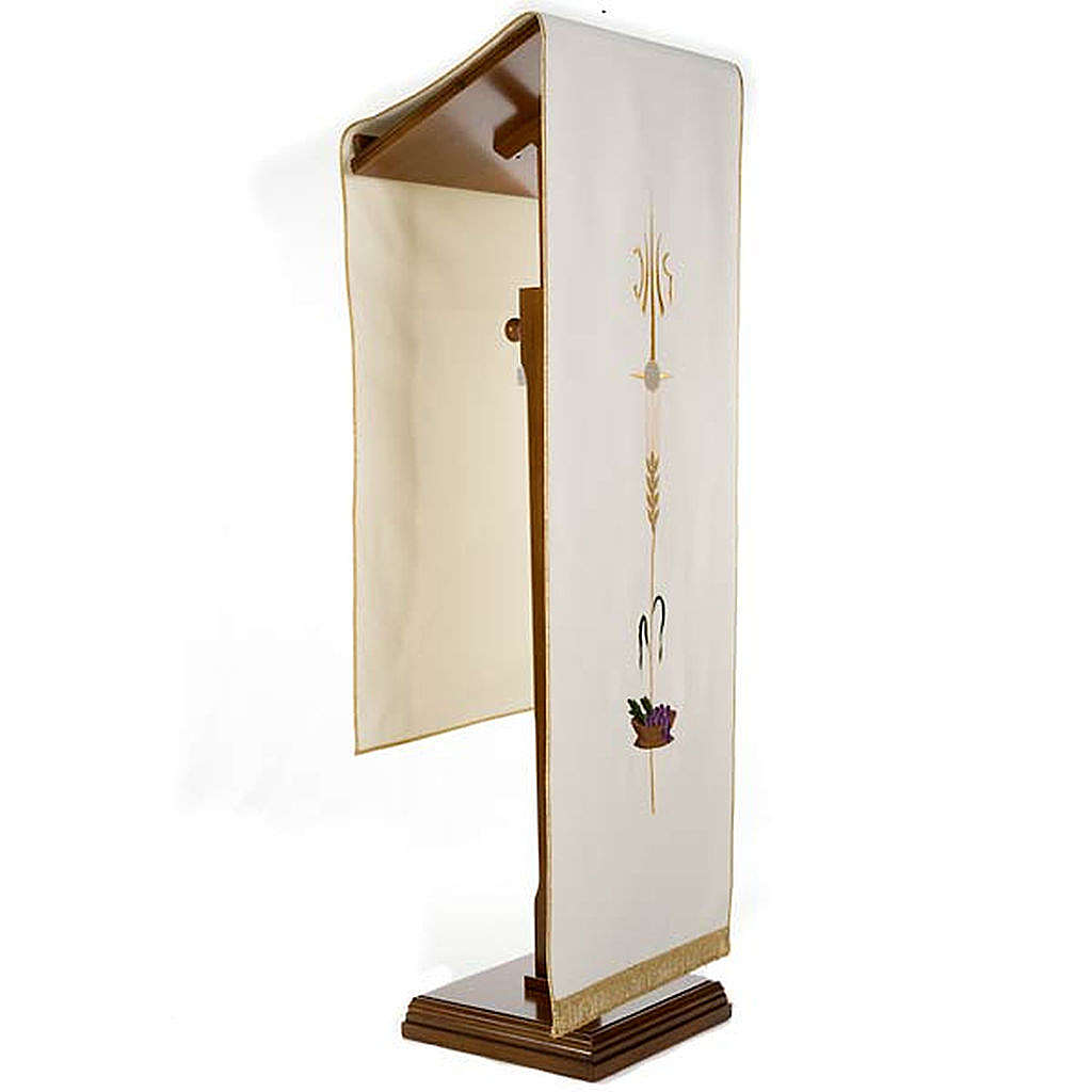 Lectern Cover, embroidered IHS, Holy Communion, wheat, grapes 4