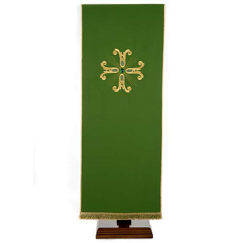 Lectern Cover, embroidered golden cross with glass bead 1