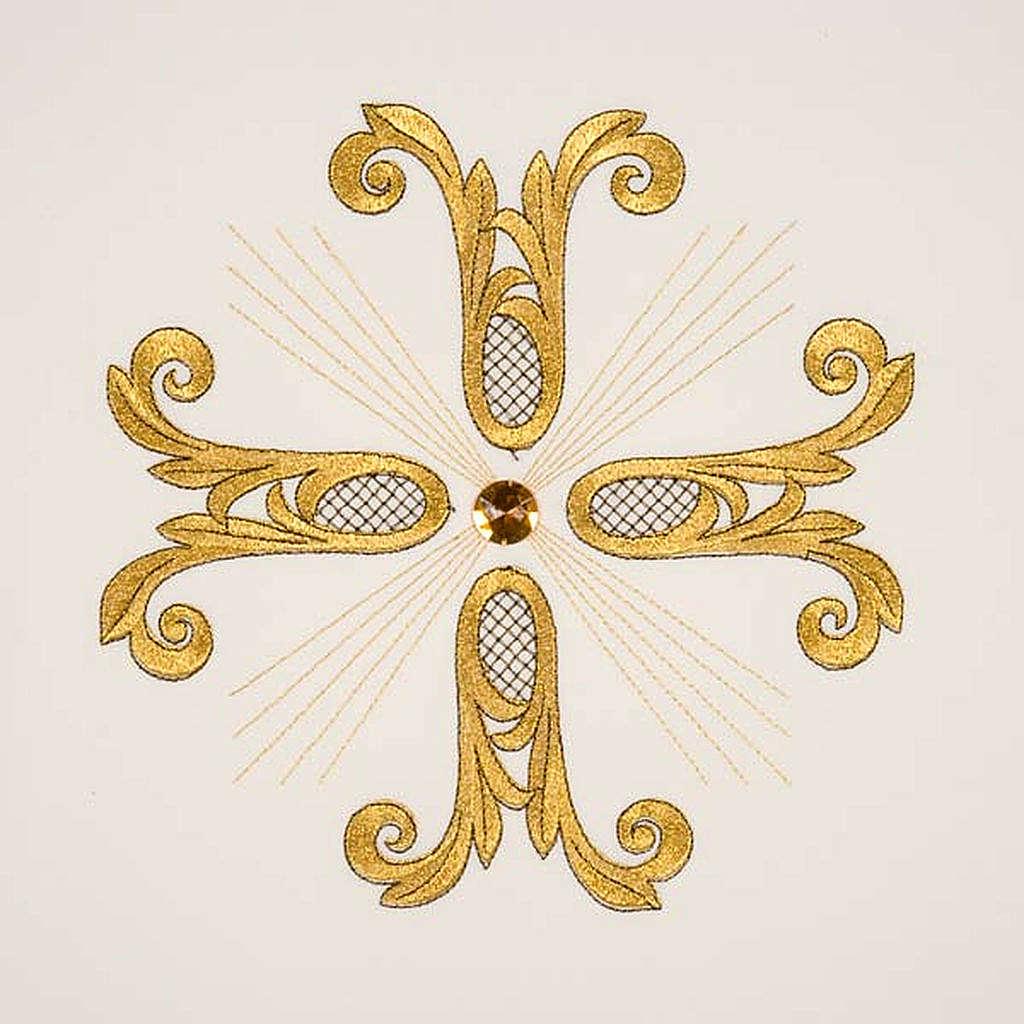 Cubre atril cruz dorada piedra de vidrio 4