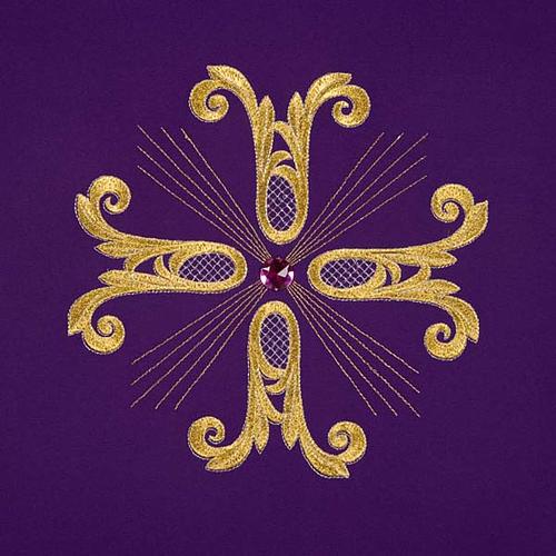 Cubre atril cruz dorada piedra de vidrio 7