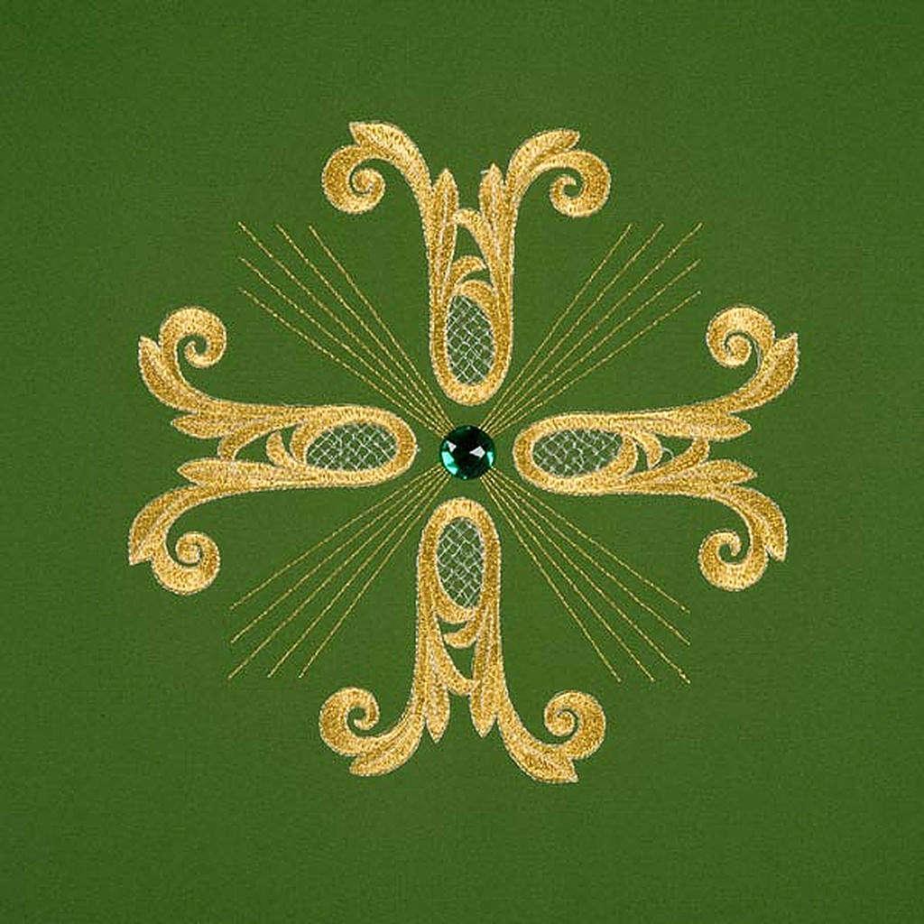 Coprileggio croce dorata perlina vetro 4