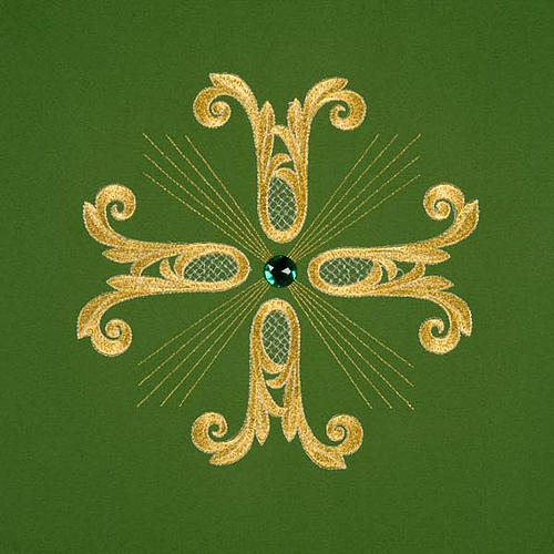 Coprileggio croce dorata perlina vetro 3